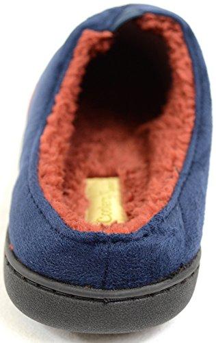 Microsuède pour homme à enfiler Mules/pantoufles avec doublure en micro polaire chaud Bleu - Bleu marine