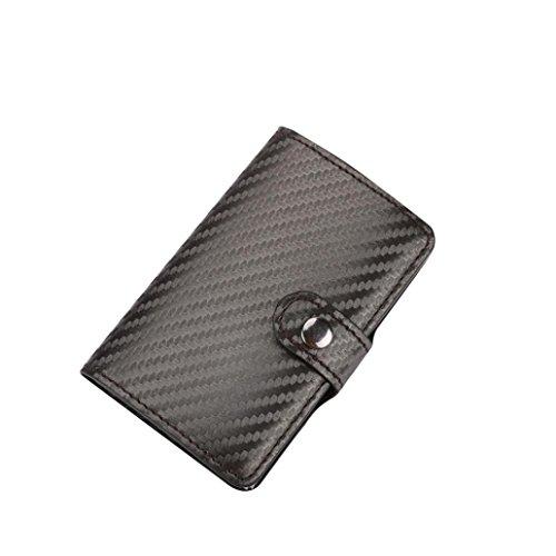 SOMESUN Kartenhüllen Damen Leder Kreditkartenhüllen ID Kreditkarte Schutz Leder Brieftasche Kartenhalter Paket Box 2017 (Grau, 9.6(L)×6.5(W)×1.3cm(H))