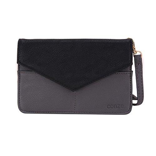 Conze da donna portafoglio tutto borsa con spallacci per Smart Phone per Sony Xperia E3/Dual Grigio grigio grigio