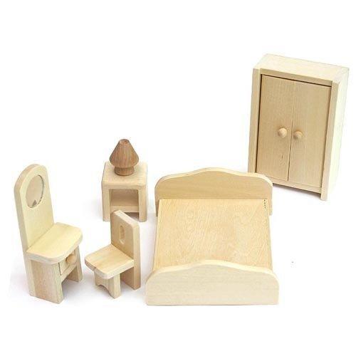 FREDA Puppenhaus Schlafzimmer Holz 6 Teile