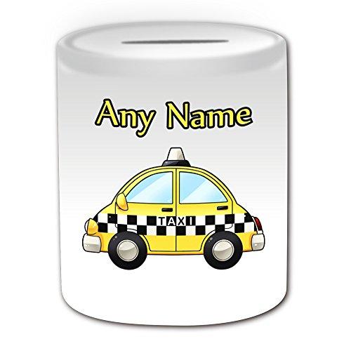 Personalisiertes Geschenk–Gelb Taxi Spardose (Design Thema, weiß)–Für jede Nachricht/Name auf Ihrem Einzigartig–Hackney Kutsche Hack Fahrzeug Automarke Buenos Treiber Private Public Hire Uber Cab TAXICAB (Penny-treiber)