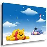 Winnie the Pooh Babyzimmer Leinwand Bild - 100x70cm k. Poster ! Bild fertig auf Keilrahmen ! Pop Art Gemälde Kunstdrucke, Wandbilder, Bilder zur Dekoration - Deko / Top 100 ! Bilder für Kinderzimmer - Babyzimmer