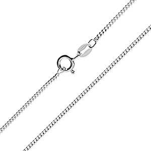 """1mm thick solid sterling silver 925 stamped Italian flat CURB chain necklace chocker bracelet anklet with spring ring clasp jewellery jewelry - inch 8""""/20cm"""