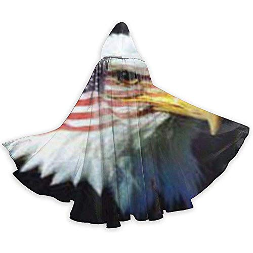 Women's Kostüm Eagles - Patriotic Eagle Flag Adult Tunika Hooded Knight Halloween Mantel Robe Kostüm Weihnachten, 59 Zoll (150,40 cm)