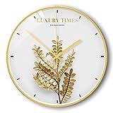 BBQBQ Orologio da Parete Tondo, Home Office, Soggiorno, Decorazione Cucina,Orologio da Parete Foglia d'oro Muto E 14 Pollici