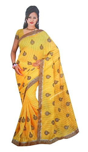 Super Stylish Elegant Flower Pattern Saree With Blouse (Yellow Color)
