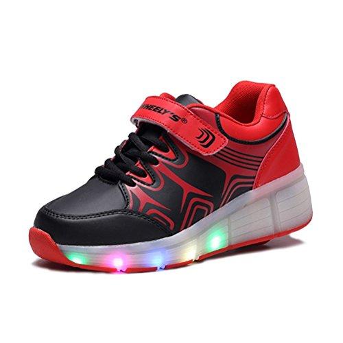 TeraSeven Sneakers Unisexe Enfant Fille Garçon Chaussures à roulettes Skateboard Heelys Baskets Mode Lumineuses LED Chaussures de Sport Clignotantes Y10 Noir Rouge
