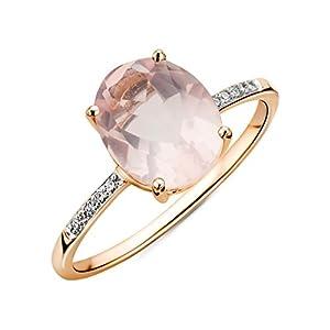 Miore Anello di Diamanti in Oro Bianco con Quarzo Ovale di 9ct,Rosa e Oro,Q