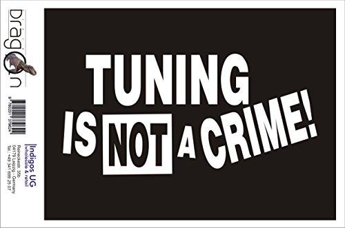 INDIGOS UG Aufkleber Autoaufkleber - JDM Die Cut Auto OEM - Tuning is not a Crime! - 210x120mm weiß - Auto Laptop Tuning Sticker Heckscheibe LKW Boot