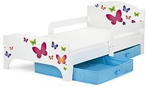 Moderne Lit d'Enfant Toddler 140/70 cm motif Papillons Lit pour enfant avec rangement + matelas,tiroirs bleus