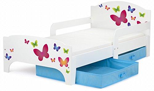 Leomark Kinderbett mit Schubladen für Bettwäsche und Matratze 140 x 70 Motiv:Schmetterlinge. blau schublade