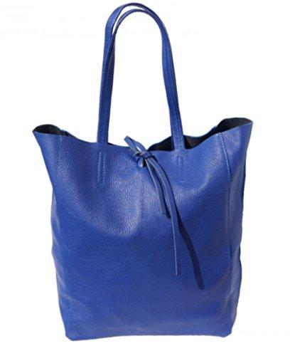 SUPERFLYBAGS Borsa Donna Shopper a Spalla In Vera Pelle modello Elba Made In Italy Bluette