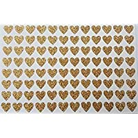 96 Gold Glittery Small Self Adhesive Heart Stickers 7mm