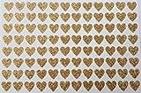 96 piccoli adesivi a forma di cuore con brillantini dorati, 7 mm