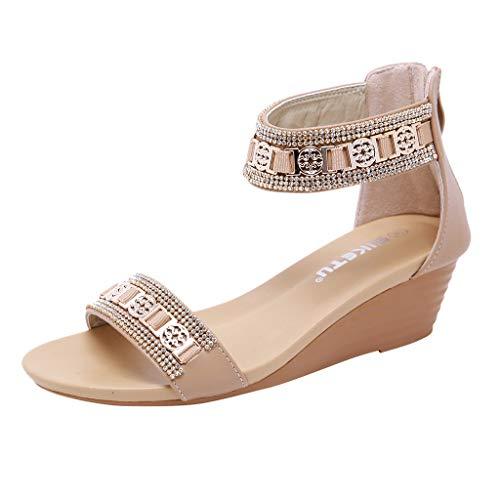 ♦ Vovotrade ♦ Moda Donna Open Toe Shoes Sandali con Tacco Medio Bohemian Metal con Strass Wedge Plus Size
