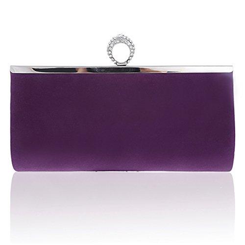 Damara Pochette de Soirée Femme Velours Rectangle Embrayage Boucle de Bangue violet