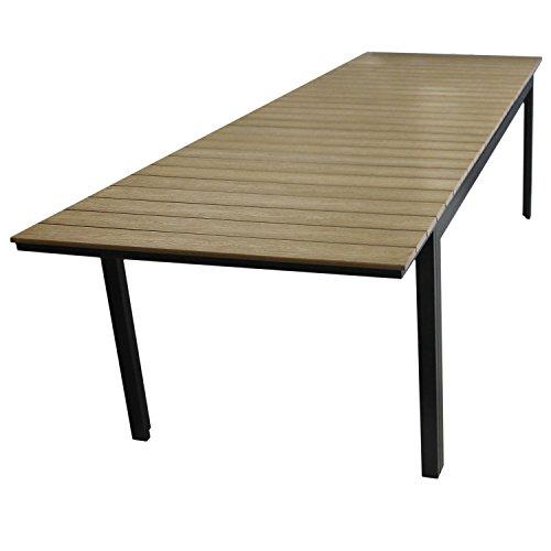 Aluminium Gartentisch ausziehbar mit Polywood Tischplatte Ausziehtisch 280/220x95cm Terrassentisch Esstisch Gartenmöbel Terrassenmöbel Brown-Grey