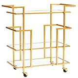 WYRX-Carros de servicio Gold Bar Cart, Rolling Serving Cart with Metal Frame and 3 Tempered Glass Shelves, Easy to Move with 4 Wheels, Ideal for Kitchen, Living Room, Hotel,...