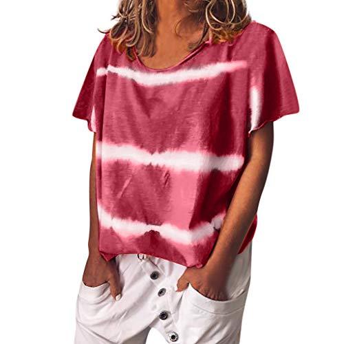 Mujer Tallas Grandes Labios Imprimir Manga Corta O-Cuello Camiseta Blusa Tops
