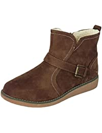 fd3d688bf7225 Cushion Walk Women's Low Wedge Faux Suede Fleece Lined Ankle Boots With  Buckle Detail and Zip