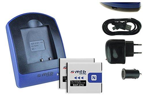2 Akkus + Ladegerät (Netz+Kfz+USB) NP-BN1 für Sony Cyber-Shot DSC-TX. W. WX. QX. - s. Liste