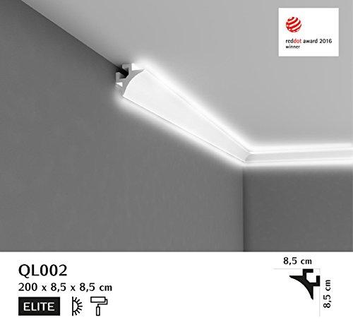 """""""BESTSELLER"""" - Licht Deckenleiste """"QL002"""" - prämierte Eckleiste für indirekte Beleuchtung - 2m Länge - 85mm Höhe"""