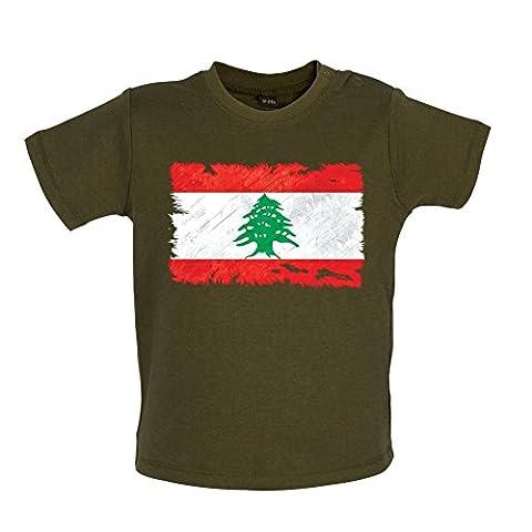 Lebanon / Liban Drapeau style grunge - T-shirt pour bébé - vert militaire - 18-24 mois