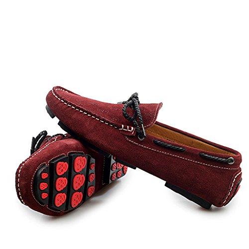 Minitoo Men's Plus Motif Floral décontracté Loafer Chaussons mocassins en daim pour chaussures bateau Rouge - Bordeaux