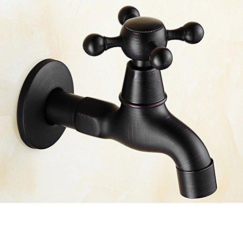 Qinlei Badezimmer-Accessoires QINLEI europäischen stil bad schwarzen bronze 4 waschmaschine. voller kupfer schnell öffnung in der mauer art einzigen kalten wasserhahn,b