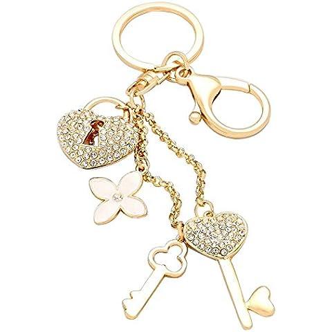 """Rosemarie Collections da donna Sparkle cuori portachiavi borsa Charm """"Chiavi serratura Fiore Color Oro"""