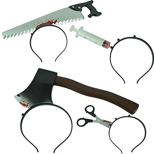 Requisiten Halloween (Uniqstore-Halloween-Requisiten-Kostüm-Requisiten 4pcs schrecklich Haarband Stinrband (Säge+ Axt+ Schere+)