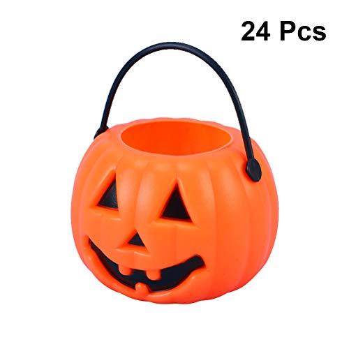 Amosfun 24 stücke Halloween kürbis süßigkeiten Eimer tragbare kürbis Eimer Kinder Trick or Treat Eimer für Halloween Party Dekoration liefert 8,5x5,5x6,5 cm (orange)