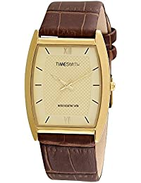 Timesmith Premium Limited Edition Gold Dial Brown Leather Strap Branded Anaog Watch For Men TSM-124