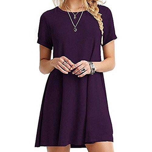 Sexyshine Damen Langarm U-Ausschnitt Casual Lose Swing Basic Tunika T-Shirt Kleid Übergröße - Violett - Groß -