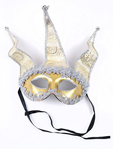 mask-it, 20,3cm Silber/Gold Jester Halbmaske Sortiment mit Jester Pints und Glöckchen mit Tuch Krawatte