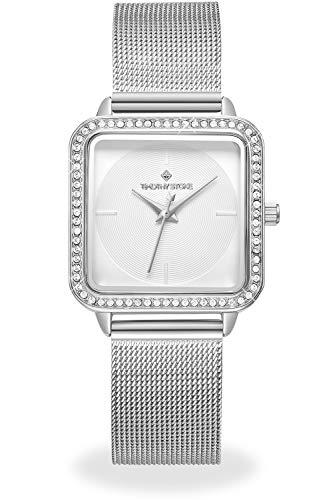 Damen Silber Uhren mit Weißem Zifferblatt Platz Gehäuse Japan Quarz Edelstahl Mesh Armband
