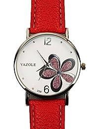 Relojes Pulsera Mujer,Xinan Flor Linda Cuarzo Cuarzo Señoras Relojes (Rojo2)