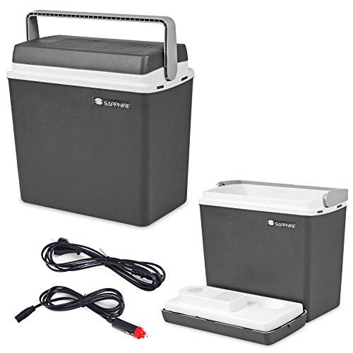 Kühlbox 25L Kühltasche CAMPINGKÜHLBOX AUTOKÜHLBOX 12V/230V Sapphire SG-01 Gratis (Grau)
