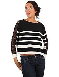 Sunshine - Pull en coton à motif rayé style marin - Femme