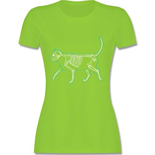 Katzen - spooky cat - tailliertes Premium T-Shirt mit Rundhalsausschnitt für Damen Hellgrün