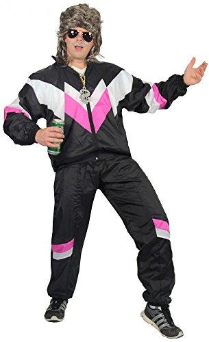 80er Jahre Trainingsanzug Kostüm für Erwachsene | schwarz pink weiß | Größe: S – XXXL - 2