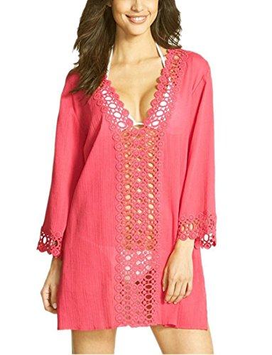 Marokkanische Kostüm Frauen (Honeystore Damen Strankleid Perforierte Nähte Spitze V-Ausschnitt Badeanzug Bikini Kittel Strand Rock Rot)