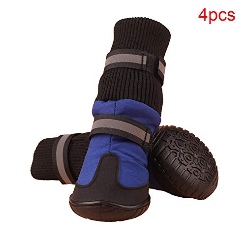 FADDARE 4 Stück Hund Pfote schützen Stiefel, Walker Care Schutzstiefel mit reflektierenden Riemen, Gummi wasserdichte Anti-Rutsch-Schuhe Outdoor Protector
