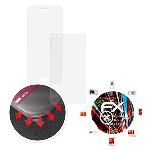 atFolix Schutzfolie passend für Yota Devices YotaPhone 3 Plus Folie, entspiegelnde & Flexible FX Bildschirmschutzfolie (3er Set)