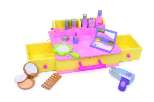 Small Foot Company 1556 Kosmetikkoffer aus Holz mit viel Zubehör, Make up und Frisier, Komplettset...