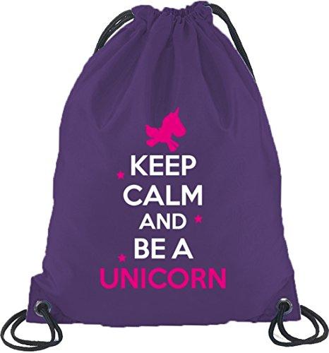 Keep Calm And Be A Unicorn, Einhorn Turnbeutel Rucksack Sport Beutel, Größe: onesize,Lila