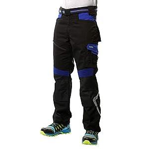 Goodyear Workwear GYPNT010 – Pantalones de trabajo para hombre, con bolsillos y bolsillos, 31/30, negro y azul real, 1