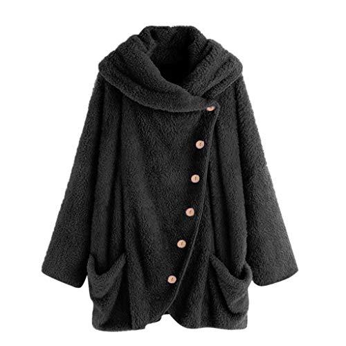 Kostüm Slutty Lustig - iHENGH Damen Herbst Winter Bequem Mantel Lässig Mode Jacke Mode Frauen Knopf Mantel Flauschige Schwanz Tops Mit Kapuze Lose(Schwarz-2, M)