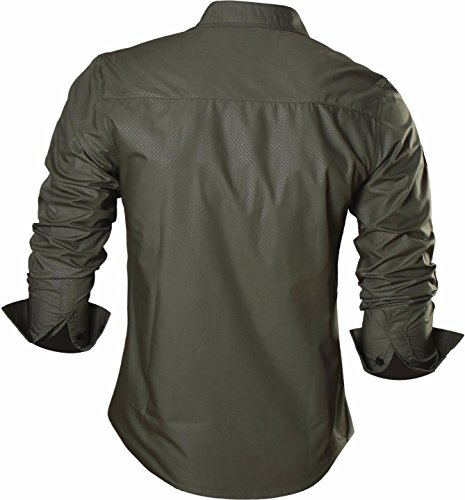 jeansian Herren Freizeit Hemden Slim Long Sleeves Casual Shirts Dress Shirts Tops Z029 ArmyGreen
