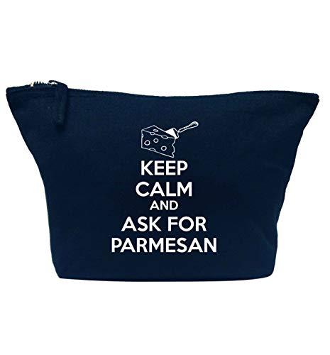 Flox Creative Makeup Bag Say Keep Calm Ask for Parmesann Navy